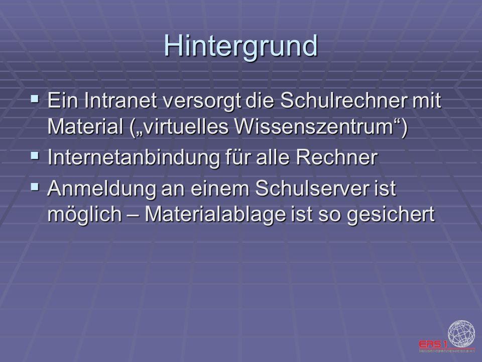 Hintergrund Ein Intranet versorgt die Schulrechner mit Material (virtuelles Wissenszentrum) Ein Intranet versorgt die Schulrechner mit Material (virtu
