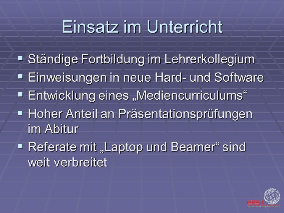 Einsatz im Unterricht Ständige Fortbildung im Lehrerkollegium Ständige Fortbildung im Lehrerkollegium Einweisungen in neue Hard- und Software Einweisu