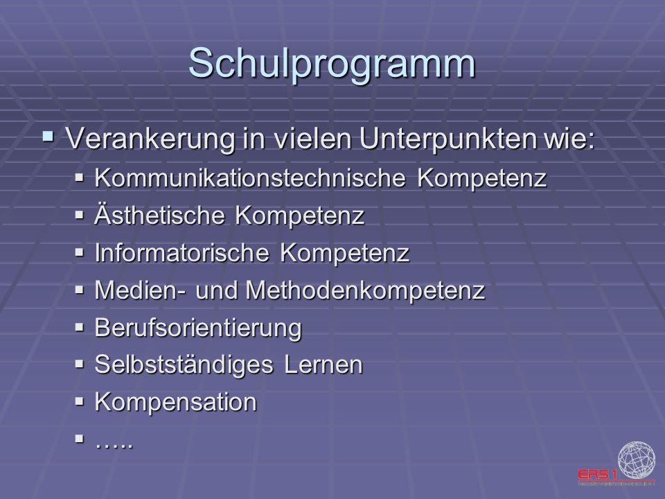 Schulprogramm Verankerung in vielen Unterpunkten wie: Verankerung in vielen Unterpunkten wie: Kommunikationstechnische Kompetenz Kommunikationstechnis