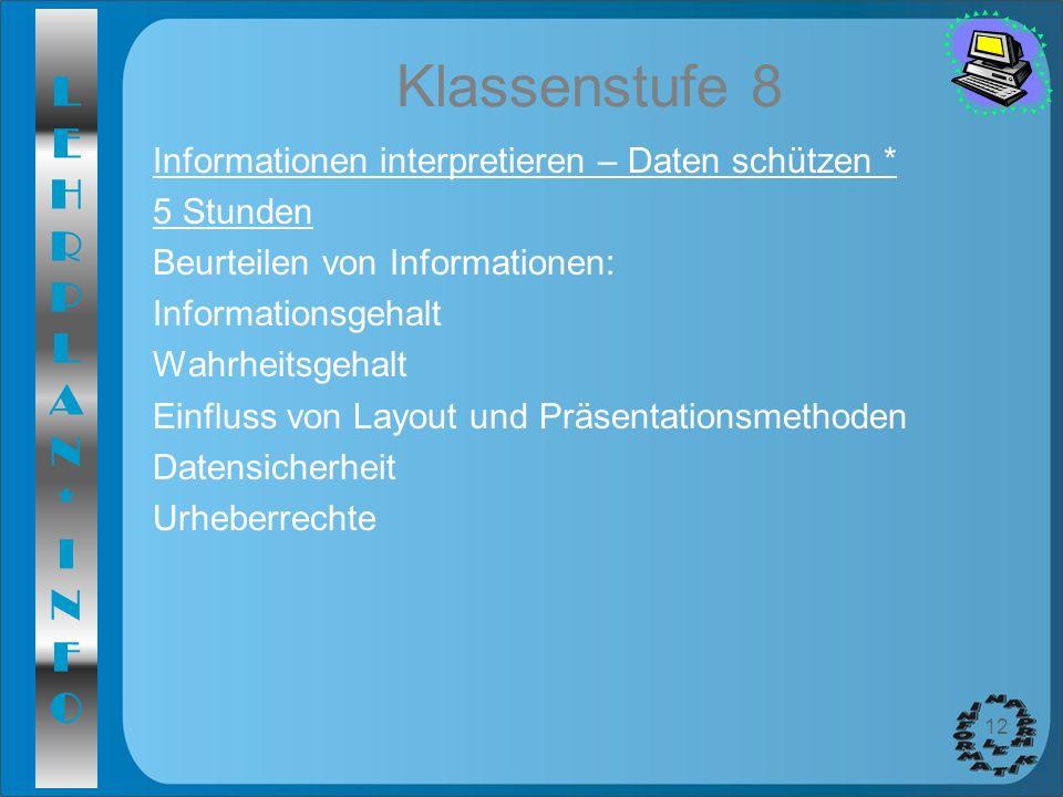 LEHRPLAN*INFOLEHRPLAN*INFO 12 Klassenstufe 8 Informationen interpretieren – Daten schützen * 5 Stunden Beurteilen von Informationen: Informationsgehal