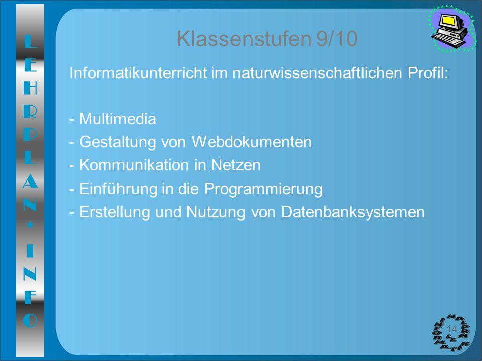 LEHRPLAN*INFOLEHRPLAN*INFO 14 Klassenstufen 9/10 Informatikunterricht im naturwissenschaftlichen Profil: - Multimedia - Gestaltung von Webdokumenten -