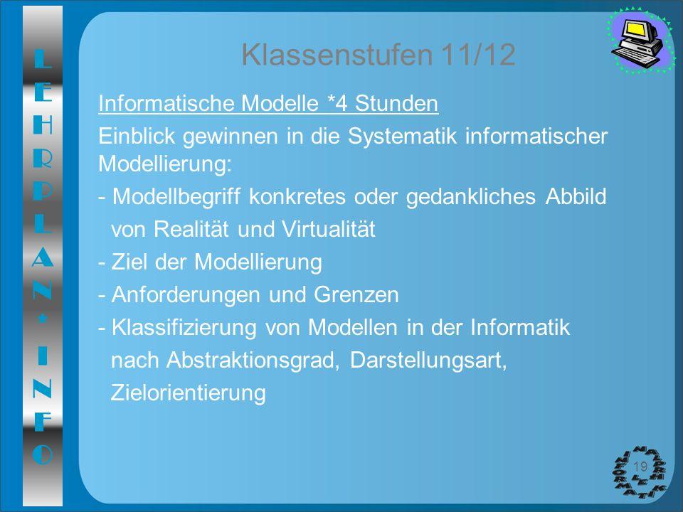 LEHRPLAN*INFOLEHRPLAN*INFO 19 Klassenstufen 11/12 Informatische Modelle *4 Stunden Einblick gewinnen in die Systematik informatischer Modellierung: -