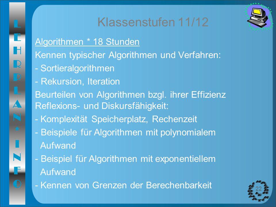LEHRPLAN*INFOLEHRPLAN*INFO 22 Klassenstufen 11/12 Algorithmen * 18 Stunden Kennen typischer Algorithmen und Verfahren: - Sortieralgorithmen - Rekursio