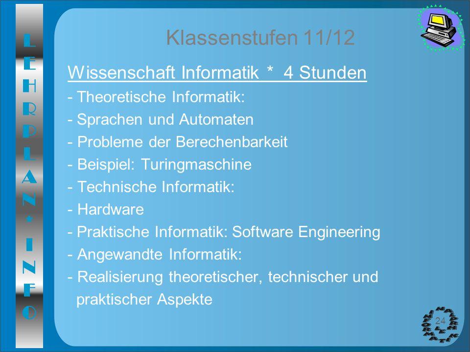 LEHRPLAN*INFOLEHRPLAN*INFO 24 Klassenstufen 11/12 Wissenschaft Informatik * 4 Stunden - Theoretische Informatik: - Sprachen und Automaten - Probleme d