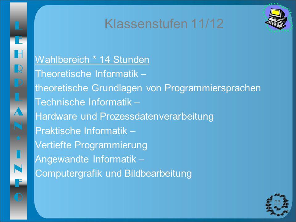LEHRPLAN*INFOLEHRPLAN*INFO 25 Klassenstufen 11/12 Wahlbereich * 14 Stunden Theoretische Informatik – theoretische Grundlagen von Programmiersprachen T