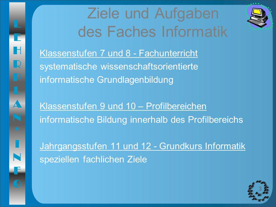 LEHRPLAN*INFOLEHRPLAN*INFO 3 Ziele und Aufgaben des Faches Informatik Klassenstufen 7 und 8 - Fachunterricht systematische wissenschaftsorientierte in