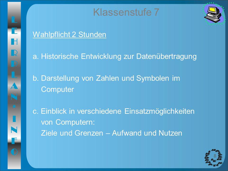 LEHRPLAN*INFOLEHRPLAN*INFO 8 Klassenstufe 7 Wahlpflicht 2 Stunden a. Historische Entwicklung zur Datenübertragung b. Darstellung von Zahlen und Symbol
