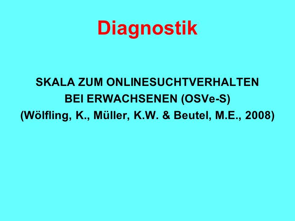 Diagnostik SKALA ZUM ONLINESUCHTVERHALTEN BEI ERWACHSENEN (OSVe-S) (Wölfling, K., Müller, K.W. & Beutel, M.E., 2008)