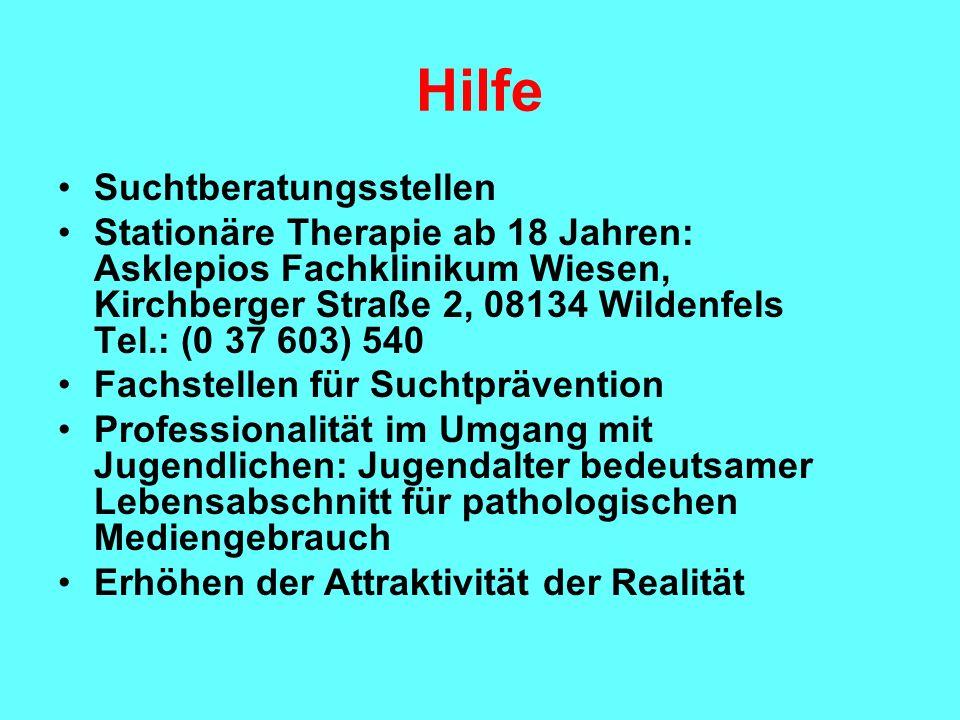 Hilfe Suchtberatungsstellen Stationäre Therapie ab 18 Jahren: Asklepios Fachklinikum Wiesen, Kirchberger Straße 2, 08134 Wildenfels Tel.: (0 37 603) 5