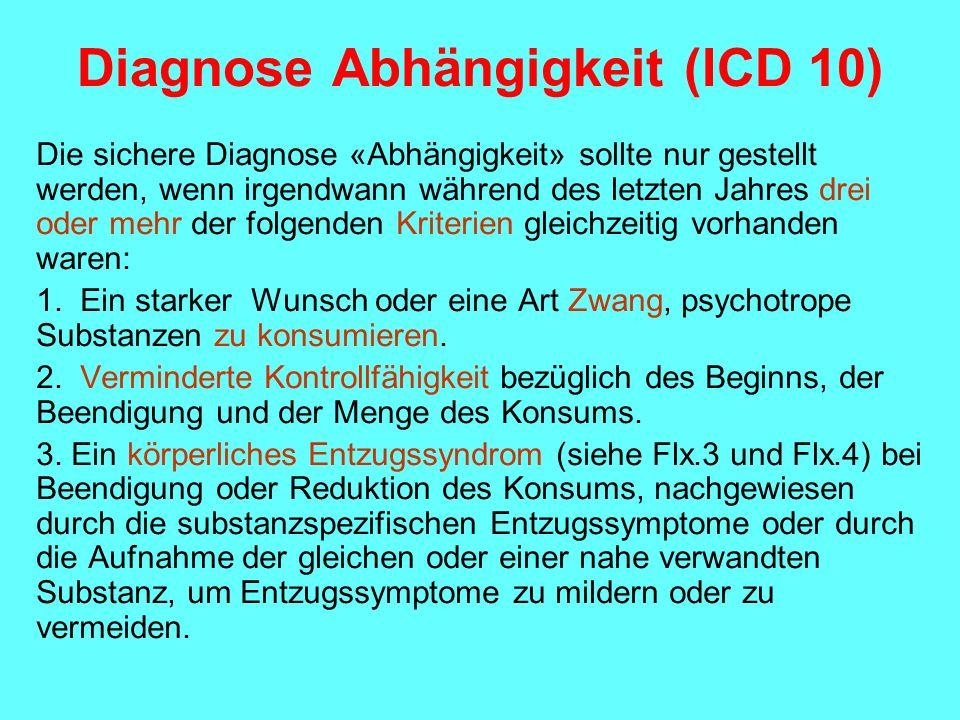 Diagnose Abhängigkeit (ICD 10) Die sichere Diagnose «Abhängigkeit» sollte nur gestellt werden, wenn irgendwann während des letzten Jahres drei oder me