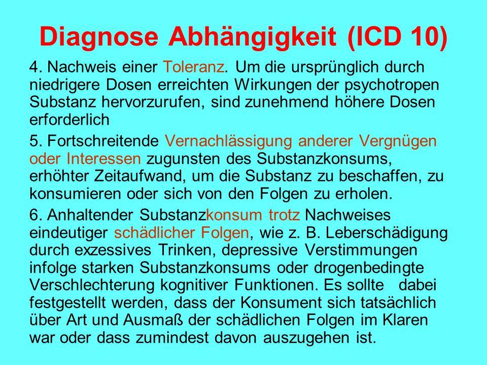 Diagnose Abhängigkeit (ICD 10) 4. Nachweis einer Toleranz. Um die ursprünglich durch niedrigere Dosen erreichten Wirkungen der psychotropen Substanz h
