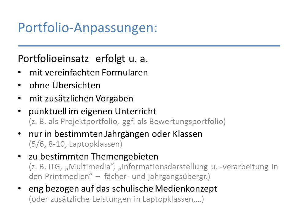 Portfolio-Anpassungen: Portfolioeinsatz erfolgt u. a. mit vereinfachten Formularen ohne Übersichten mit zusätzlichen Vorgaben punktuell im eigenen Unt