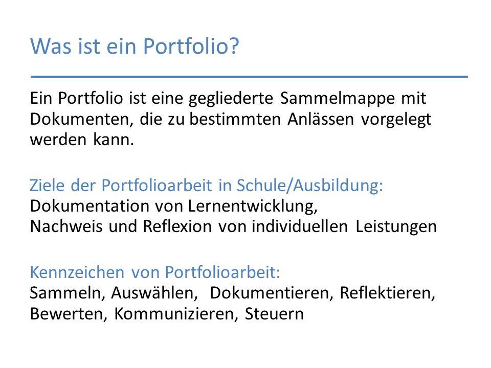 Was ist ein Portfolio? Ein Portfolio ist eine gegliederte Sammelmappe mit Dokumenten, die zu bestimmten Anlässen vorgelegt werden kann. Ziele der Port