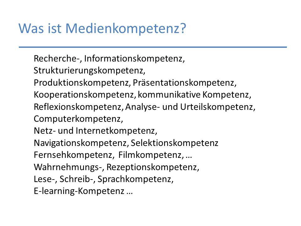 Recherche-, Informationskompetenz, Strukturierungskompetenz, Produktionskompetenz, Präsentationskompetenz, Kooperationskompetenz, kommunikative Kompet
