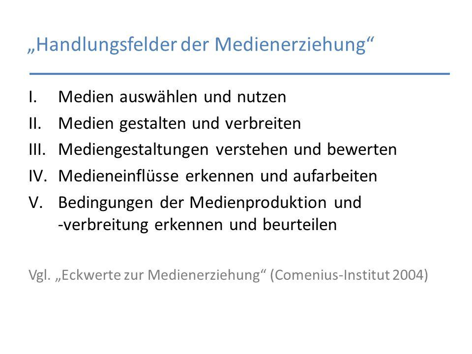 Handlungsfelder der Medienerziehung I.Medien auswählen und nutzen II.Medien gestalten und verbreiten III.Mediengestaltungen verstehen und bewerten IV.