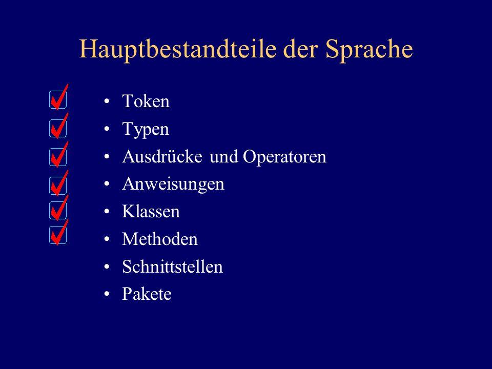 Hauptbestandteile der Sprache Token Typen Ausdrücke und Operatoren Anweisungen Klassen Methoden Schnittstellen Pakete