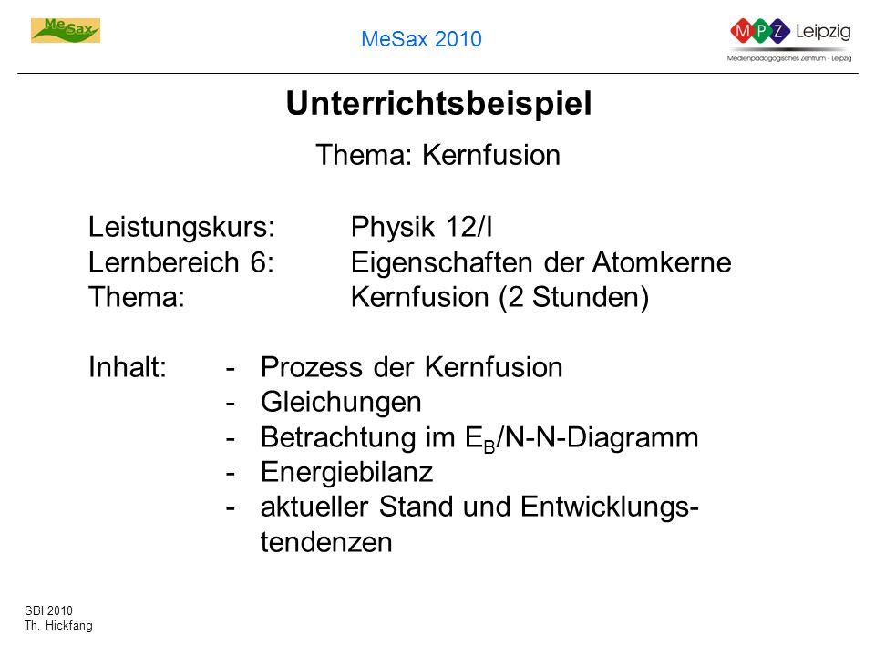 SBI 2010 Th. Hickfang MeSax 2010 Unterrichtsbeispiel Thema: Kernfusion Leistungskurs: Physik 12/I Lernbereich 6:Eigenschaften der Atomkerne Thema:Kern