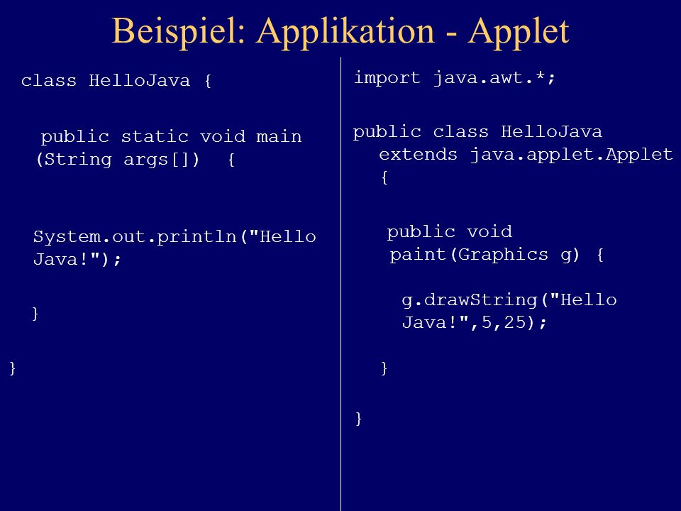 Beispiel: Applikation - Applet class HelloJava { public static void main (String args[]) { System.out.println( Hello Java! ); } import java.awt.*; public class HelloJava extends java.applet.Applet { public void paint(Graphics g) { g.drawString( Hello Java! ,5,25); } }