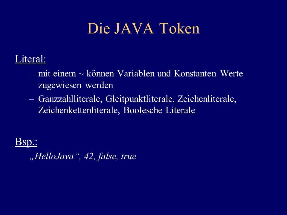 Die JAVA Token Literal: –mit einem ~ können Variablen und Konstanten Werte zugewiesen werden –Ganzzahlliterale, Gleitpunktliterale, Zeichenliterale, Z