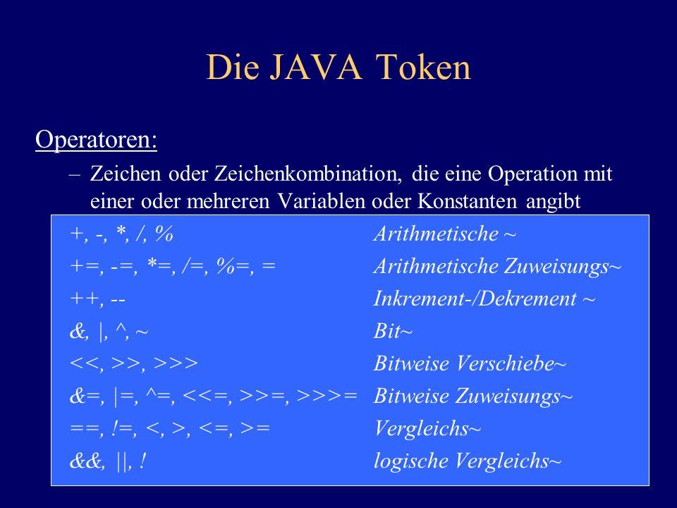 Die JAVA Token Operatoren: –Zeichen oder Zeichenkombination, die eine Operation mit einer oder mehreren Variablen oder Konstanten angibt +, -, *, /, %
