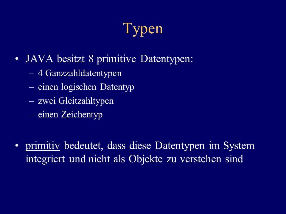 Typen JAVA besitzt 8 primitive Datentypen: –4 Ganzzahldatentypen –einen logischen Datentyp –zwei Gleitzahltypen –einen Zeichentyp primitiv bedeutet, d