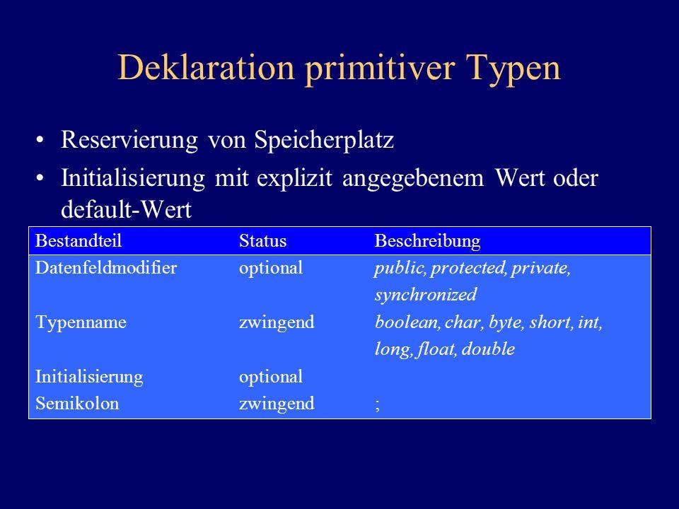 Deklaration primitiver Typen Reservierung von Speicherplatz Initialisierung mit explizit angegebenem Wert oder default-Wert BestandteilStatusBeschreib
