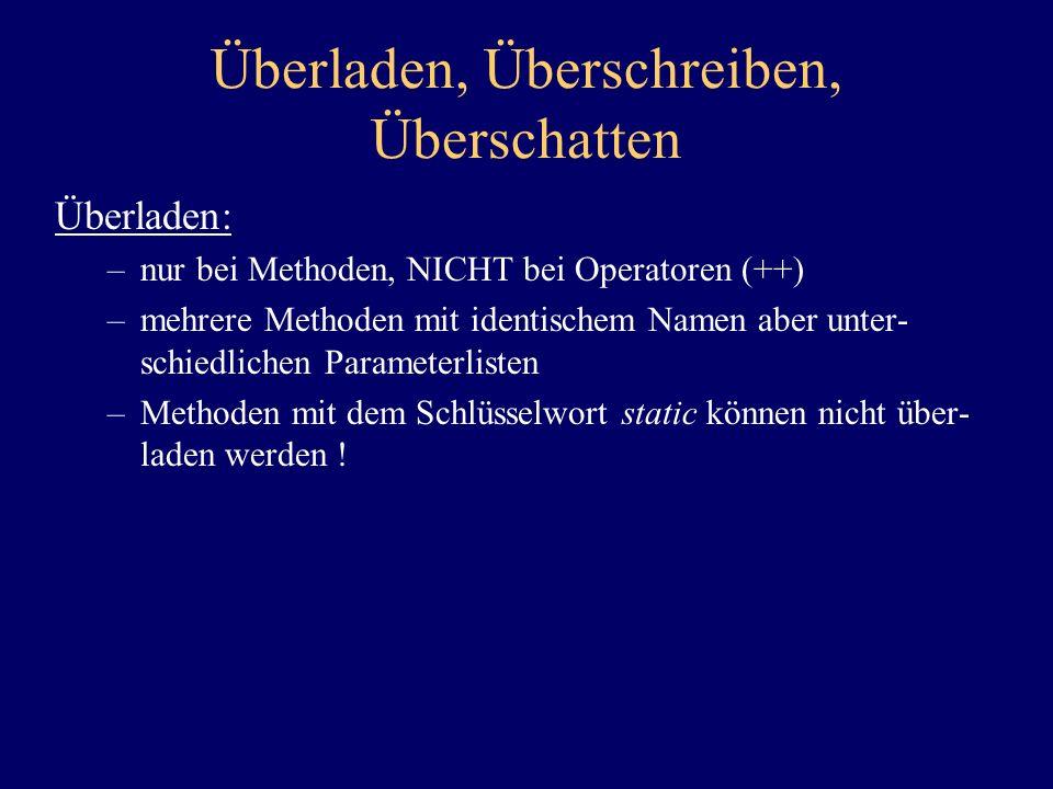 Überladen, Überschreiben, Überschatten Überladen: –nur bei Methoden, NICHT bei Operatoren (++) –mehrere Methoden mit identischem Namen aber unter- sch