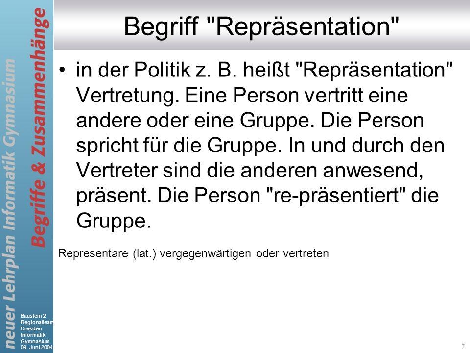 Baustein 2 Regionalteam Dresden Informatik Gymnasium 09. Juni 2004 1 Begriff