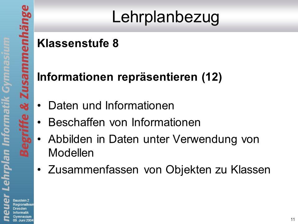 Baustein 2 Regionalteam Dresden Informatik Gymnasium 09. Juni 2004 11 Lehrplanbezug Klassenstufe 8 Informationen repräsentieren (12) Daten und Informa