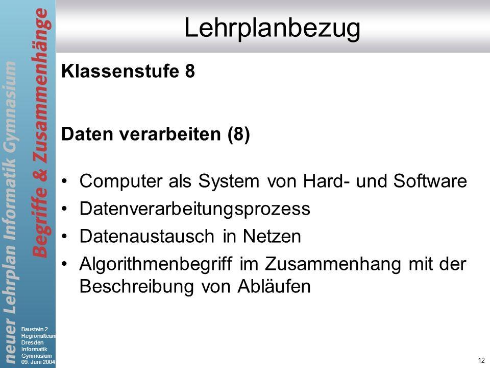 Baustein 2 Regionalteam Dresden Informatik Gymnasium 09. Juni 2004 12 Lehrplanbezug Klassenstufe 8 Daten verarbeiten (8) Computer als System von Hard-