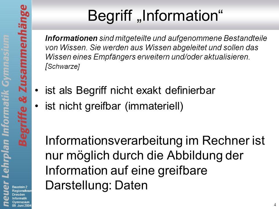 Baustein 2 Regionalteam Dresden Informatik Gymnasium 09. Juni 2004 4 Begriff Information Informationen sind mitgeteilte und aufgenommene Bestandteile