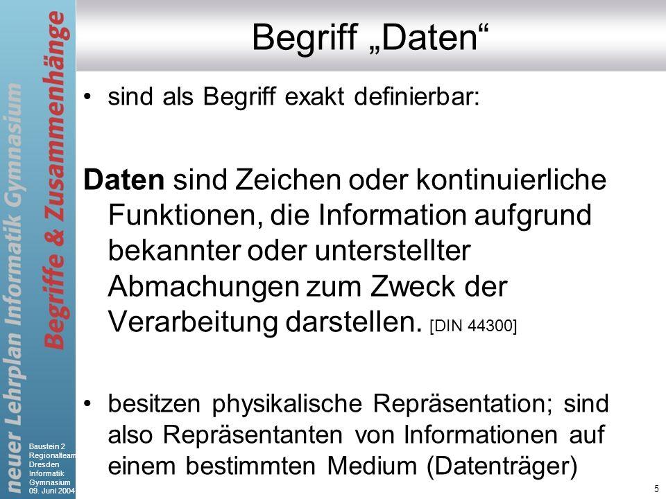 Baustein 2 Regionalteam Dresden Informatik Gymnasium 09. Juni 2004 5 Begriff Daten sind als Begriff exakt definierbar: Daten sind Zeichen oder kontinu