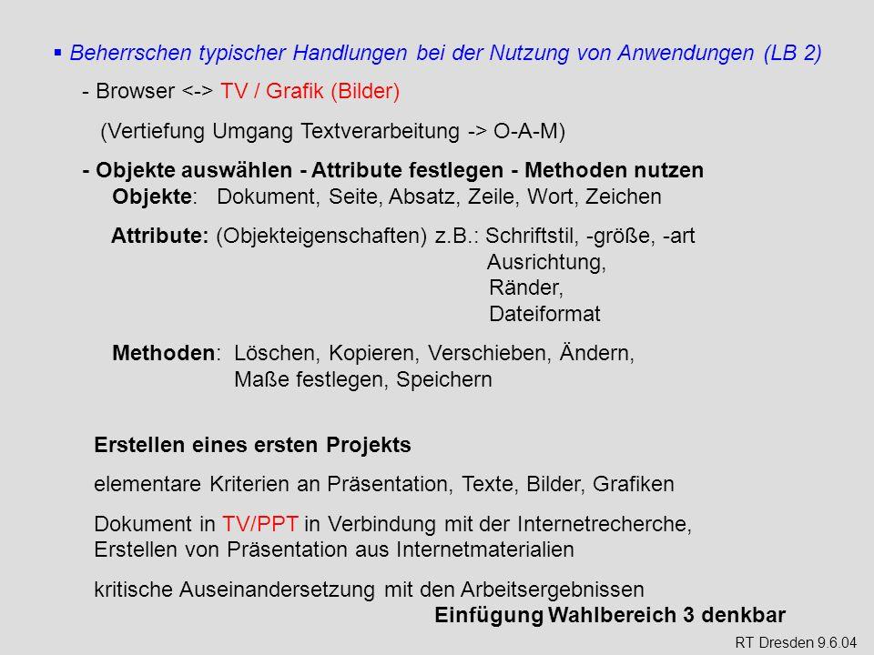 Beherrschen typischer Handlungen bei der Nutzung von Anwendungen (LB 2) - Browser TV / Grafik (Bilder) (Vertiefung Umgang Textverarbeitung -> O-A-M) -
