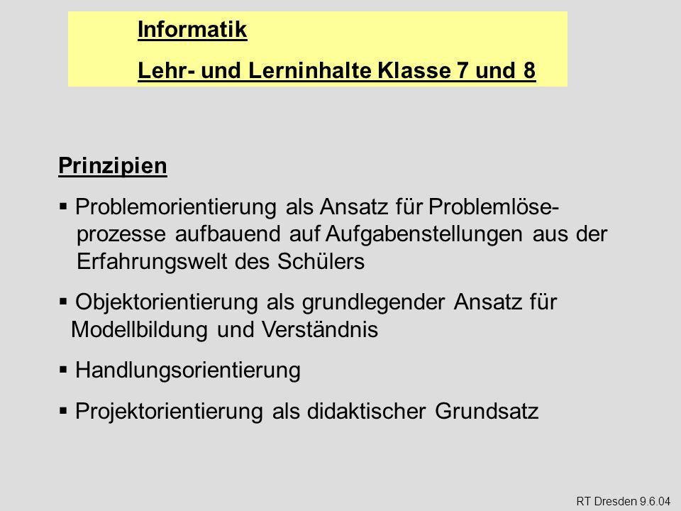 Informatik Lehr- und Lerninhalte Klasse 7 und 8 Ziele (allgemein, LP S.