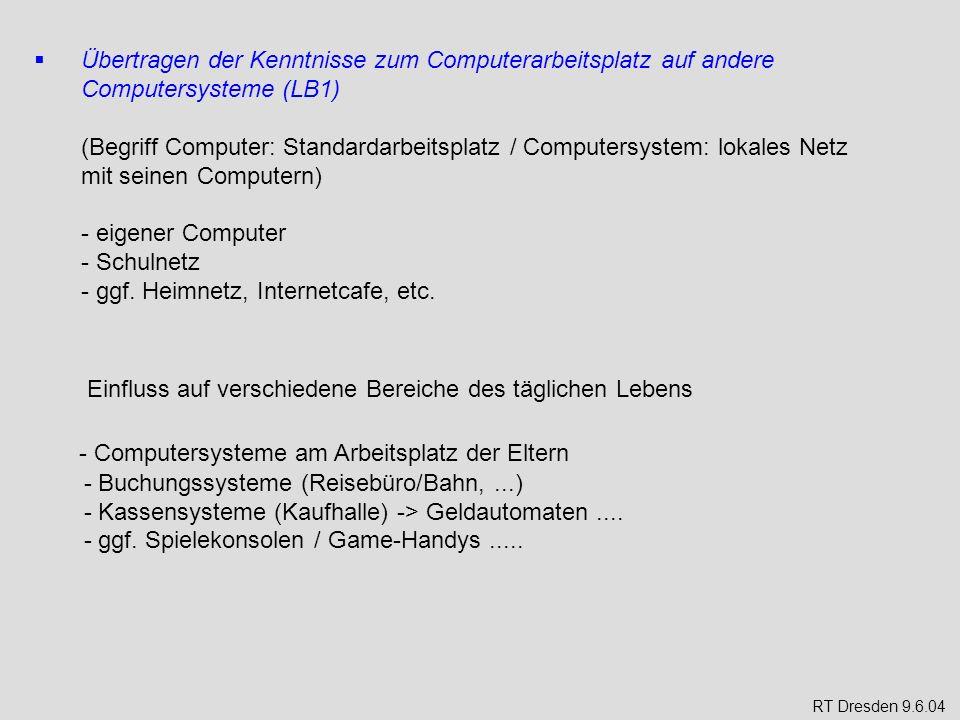 Übertragen der Kenntnisse zum Computerarbeitsplatz auf andere Computersysteme (LB1) (Begriff Computer: Standardarbeitsplatz / Computersystem: lokales