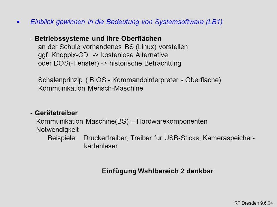 Einblick gewinnen in die Bedeutung von Systemsoftware (LB1) - Betriebssysteme und ihre Oberflächen an der Schule vorhandenes BS (Linux) vorstellen ggf