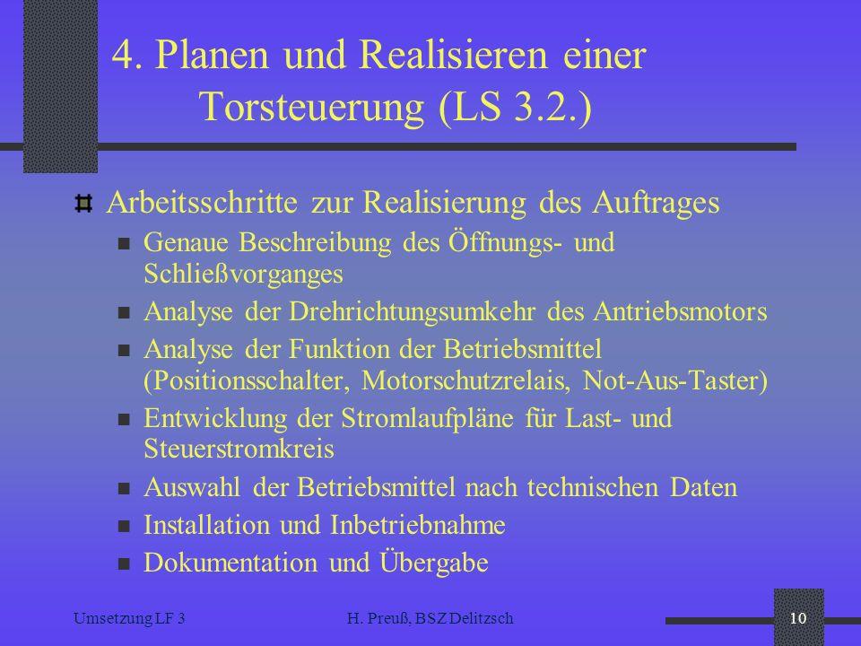 Umsetzung LF 3H. Preuß, BSZ Delitzsch10 4. Planen und Realisieren einer Torsteuerung (LS 3.2.) Arbeitsschritte zur Realisierung des Auftrages Genaue B