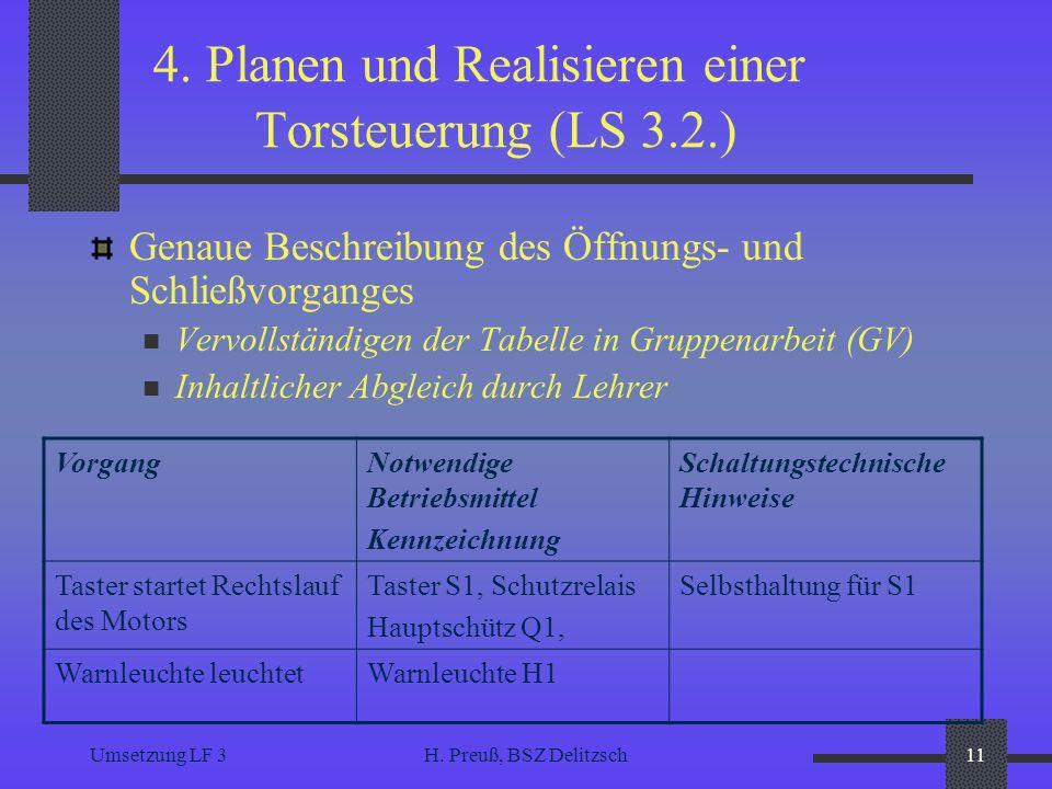Umsetzung LF 3H. Preuß, BSZ Delitzsch11 4. Planen und Realisieren einer Torsteuerung (LS 3.2.) Genaue Beschreibung des Öffnungs- und Schließvorganges