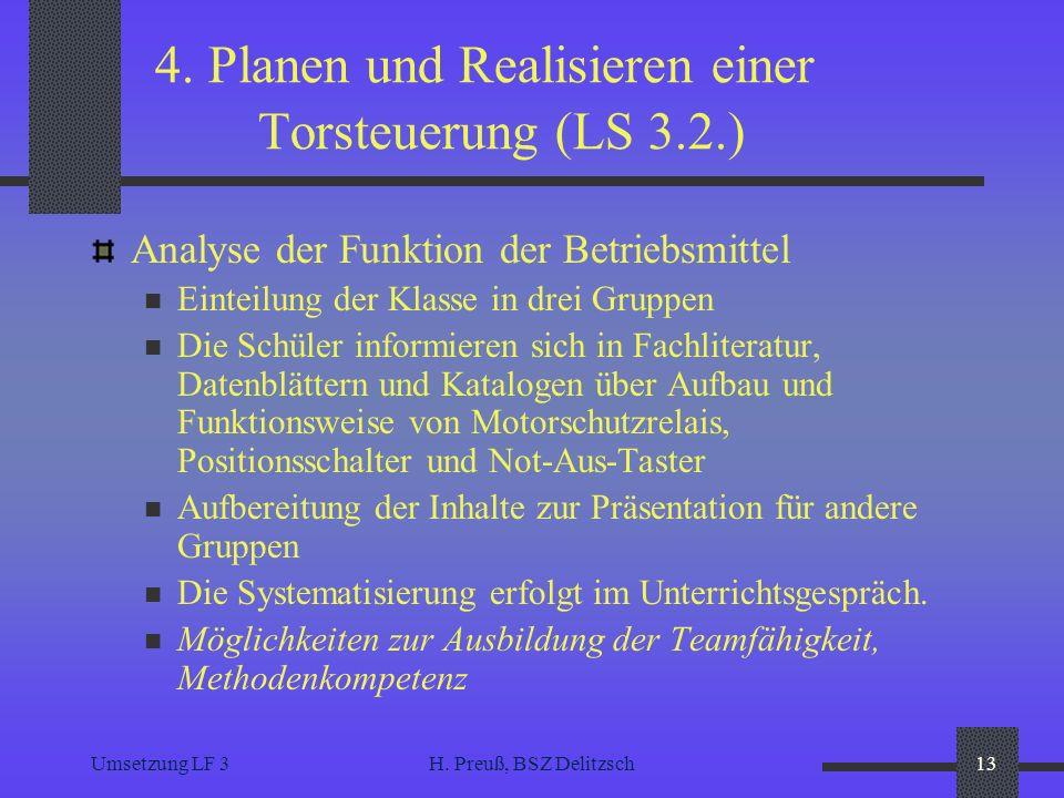 Umsetzung LF 3H. Preuß, BSZ Delitzsch13 4. Planen und Realisieren einer Torsteuerung (LS 3.2.) Analyse der Funktion der Betriebsmittel Einteilung der