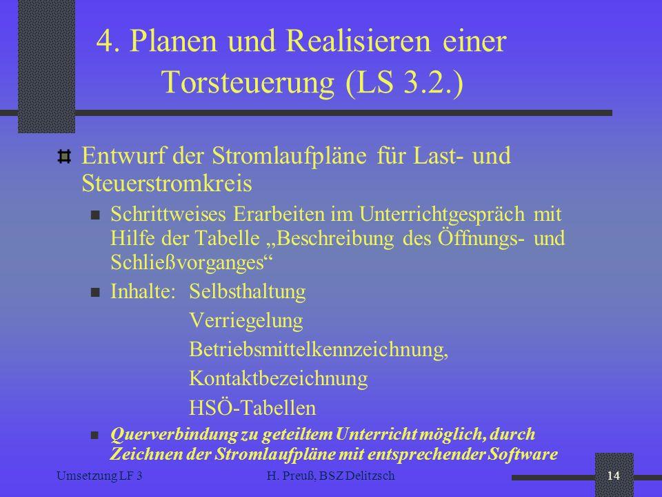 Umsetzung LF 3H. Preuß, BSZ Delitzsch14 4. Planen und Realisieren einer Torsteuerung (LS 3.2.) Entwurf der Stromlaufpläne für Last- und Steuerstromkre