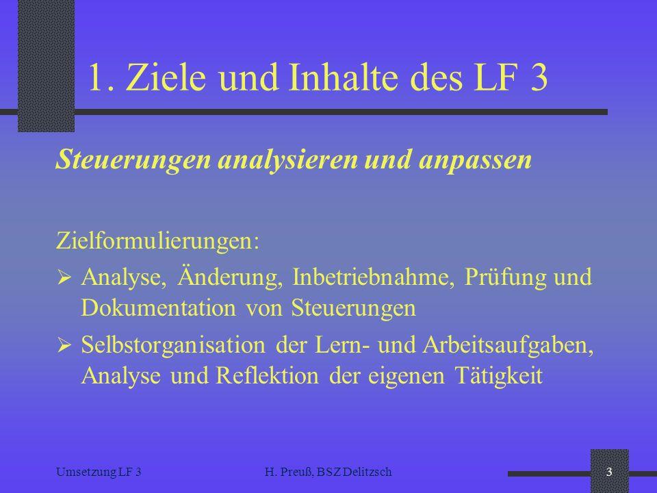 Umsetzung LF 3H. Preuß, BSZ Delitzsch3 1. Ziele und Inhalte des LF 3 Steuerungen analysieren und anpassen Zielformulierungen: Analyse, Änderung, Inbet