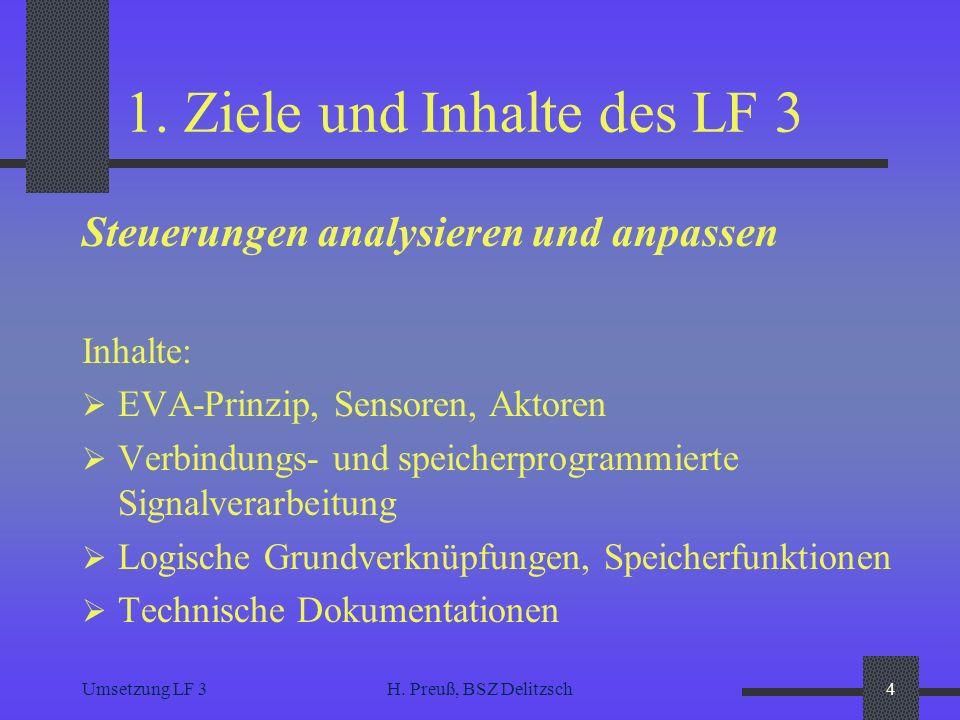 Umsetzung LF 3H. Preuß, BSZ Delitzsch4 1. Ziele und Inhalte des LF 3 Steuerungen analysieren und anpassen Inhalte: EVA-Prinzip, Sensoren, Aktoren Verb