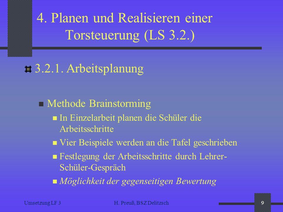 Umsetzung LF 3H. Preuß, BSZ Delitzsch9 4. Planen und Realisieren einer Torsteuerung (LS 3.2.) 3.2.1. Arbeitsplanung Methode Brainstorming In Einzelarb