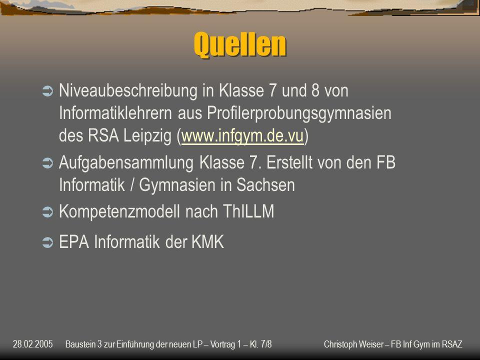 28.02.2005Baustein 3 zur Einführung der neuen LP – Vortrag 1 – Kl.