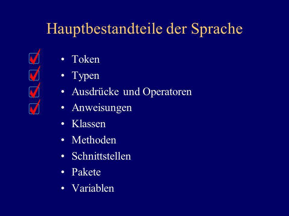 Hauptbestandteile der Sprache Token Typen Ausdrücke und Operatoren Anweisungen Klassen Methoden Schnittstellen Pakete Variablen