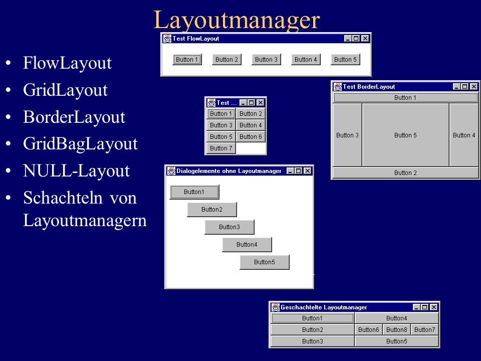 Layoutmanager FlowLayout GridLayout BorderLayout GridBagLayout NULL-Layout Schachteln von Layoutmanagern
