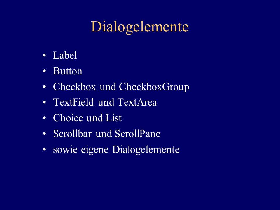 Dialogelemente Label Button Checkbox und CheckboxGroup TextField und TextArea Choice und List Scrollbar und ScrollPane sowie eigene Dialogelemente