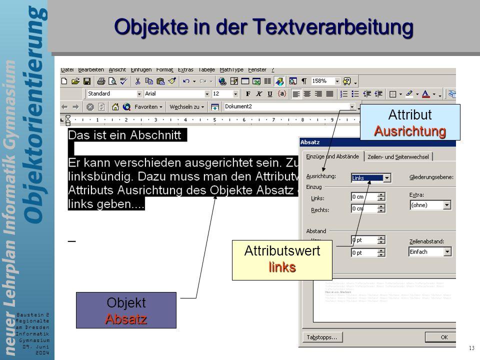 Baustein 2 Regionalte am Dresden Informatik Gymnasium 09. Juni 2004 13 Objekte in der Textverarbeitung AttributAusrichtung Attributswertlinks Absatz O