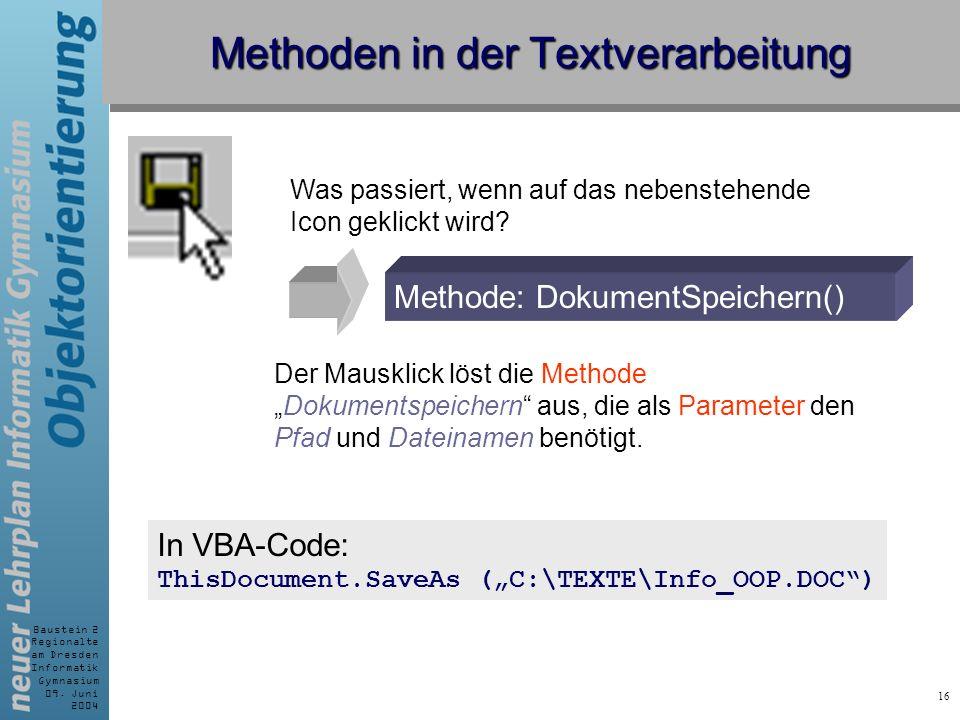 Baustein 2 Regionalte am Dresden Informatik Gymnasium 09. Juni 2004 16 Methoden in der Textverarbeitung Methode: DokumentSpeichern() Was passiert, wen