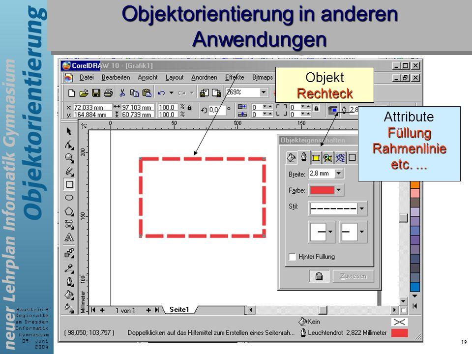 Baustein 2 Regionalte am Dresden Informatik Gymnasium 09. Juni 2004 19 Objektorientierung in anderen Anwendungen AttributeFüllungRahmenlinie etc.... R
